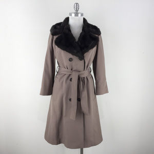 Vintage Faux Fur Russian Trench Coat Boho Belt S